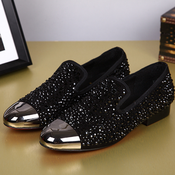 New 2015 Fashion Men Shoes Leather Shoes Mens Flats Shoes Low men Oxford Shoes Rhinestone adornment Loafers for male<br>