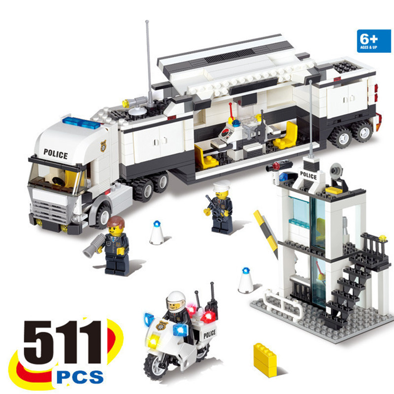 2016 New 511Pcs Police Command Vehicle Building Blocks Truck Compatible With LEGO Truck Bricks Educational Toys Birthday Gift(China (Mainland))