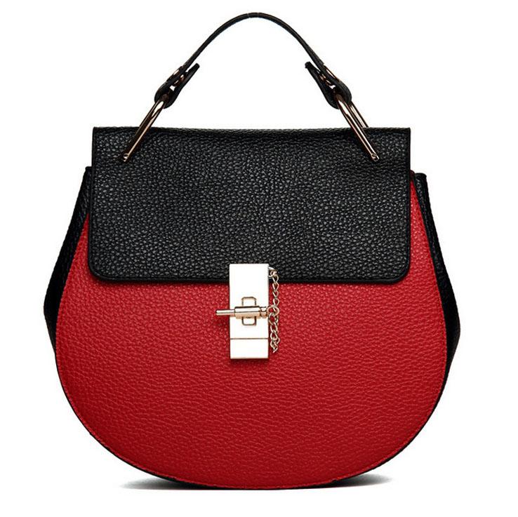 2015 summer genuine leather bags for women piggy saddle chain shoulder bag women's messenger bags patchwork saddle brand V2G35(China (Mainland))