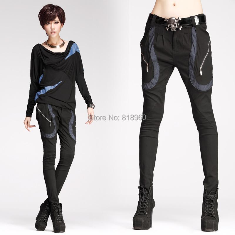 Womens pants casual fashion Jeans Designers Brand pencil pants zipper decoration Skinny harem pants Leisure Business trousersОдежда и ак�е��уары<br><br><br>Aliexpress