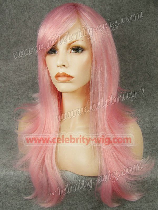 N10-3100b Pink Long Flip Straight Synthetic Lace Front Wig Reese Whiterspoon Wig<br><br>Aliexpress
