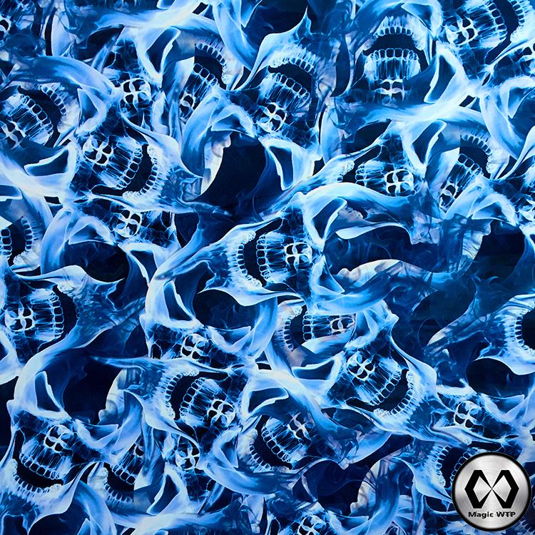 Free Shipping Water Transfer Printing Film Skull Blue Flame No.MLGD044 Hydrographics Film Transfer Film Skull Design Aqua Print(China (Mainland))