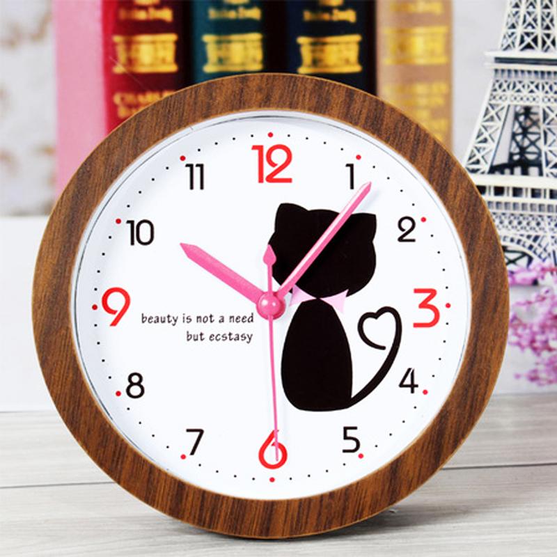 Creative cute cartoon kitty cat Imitation wood alarm clock home decoration desk clock watch Students children room alarm clocks(China (Mainland))