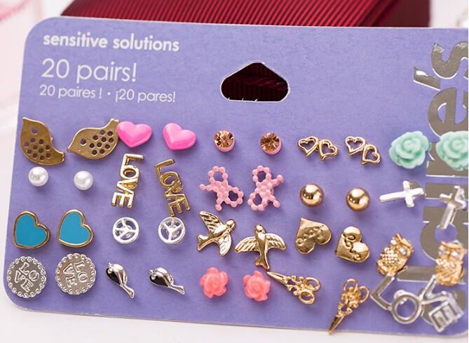 Min Order $10 Claire stud earring pack set 20 pairs birdIcecream stars cross flower love heart(China (Mainland))