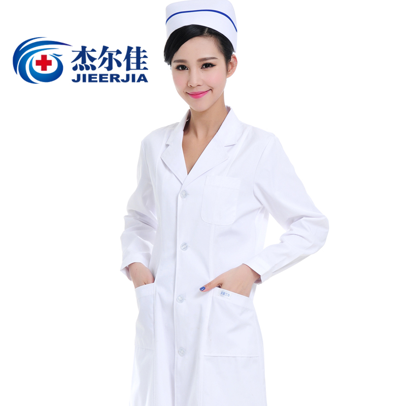 Free shipping medical uniforms Doctor scrubs women winter white long-sleeve coat work wear physician services medical clothing(China (Mainland))