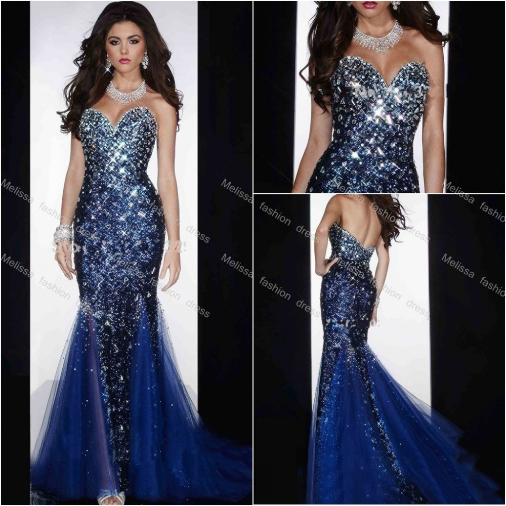 Wedding Table Prom Dresses 2015 Mermaid dress shirt slim fit picture more detailed about custom made floor length sweetheart mermaid big crystals tulle and sequin royal blue dresses prom 2015