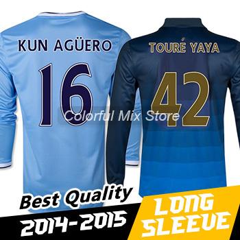 Free Shipping 2015 KUN AGUERO TOURE YAYA Long Sleeve Jerseys Best Thai Quality 14 15 Soccer Long Sleeve Football Shirts(China (Mainland))