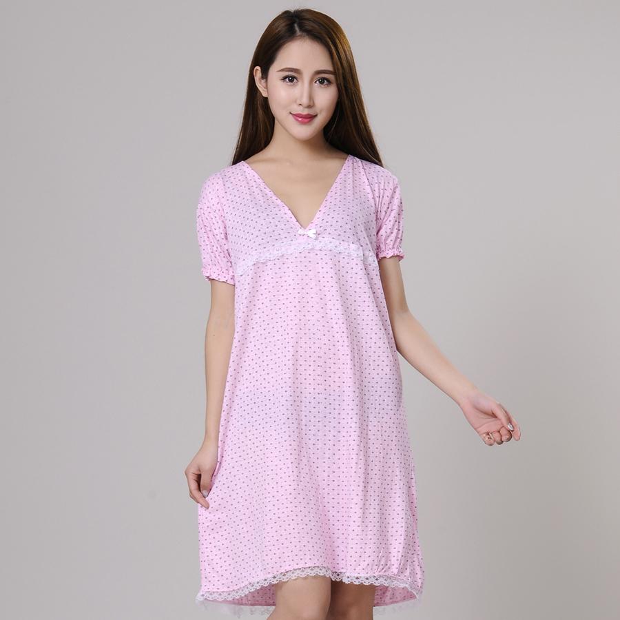 Women Nightgowns Feme Sleepshirt 2015 New Summer 100%Cotton Housewife Nightdress Lady Sleepwear Girl Pajamas Mum Lounge S M L XL(China (Mainland))