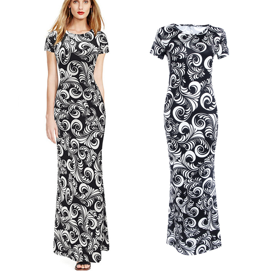 Best Buy Women's Summer Dress Full Length Work Outfit Casual Wear Crew Neck Dress Black White Print(China (Mainland))