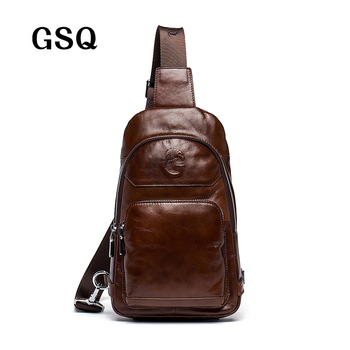 GSQ 2016 Hot Genuine Leather Men Shoulder Bag Fashion Trending Oil Wax Leather Mens Crossbody Bag Coffee Chest Pack Men Bags