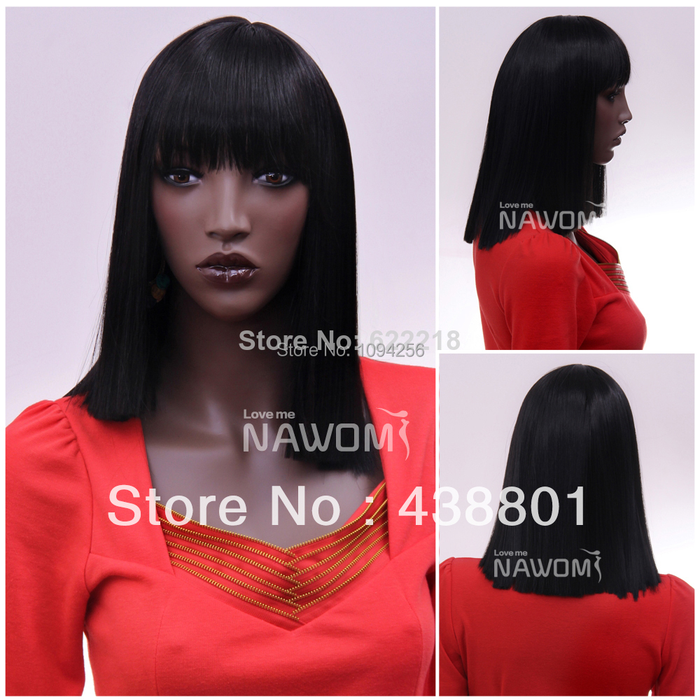 Newloo african women wigs with bangs black high quality kanekalon synthetic wig wholesale F1187-2<br><br>Aliexpress