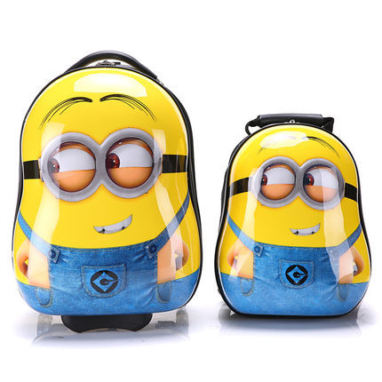 17 Inch Travel 3D stereo Minion Pull rod box boy girl Children Luggage Suitcase School Bag On Wheels Travel Bags children gift(China (Mainland))
