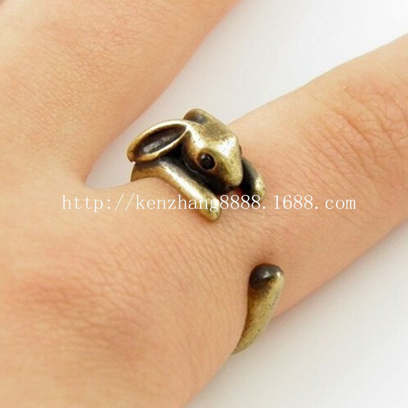 CUTE BUNNY RING FOR WOMEN'S / TEEN'S RETRO BURNISHED BUNNY RABBIT RINGS JEWELRY WHOLESALE PRICE(China (Mainland))