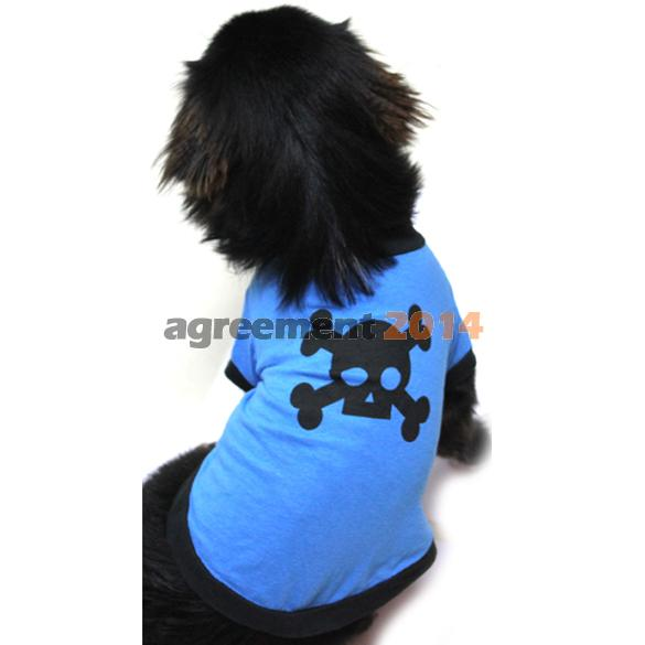 Blue Lovely Pet Dogs Cotton Skull Picture Printed Clothes T Shirt Puppy Shirt AR(China (Mainland))