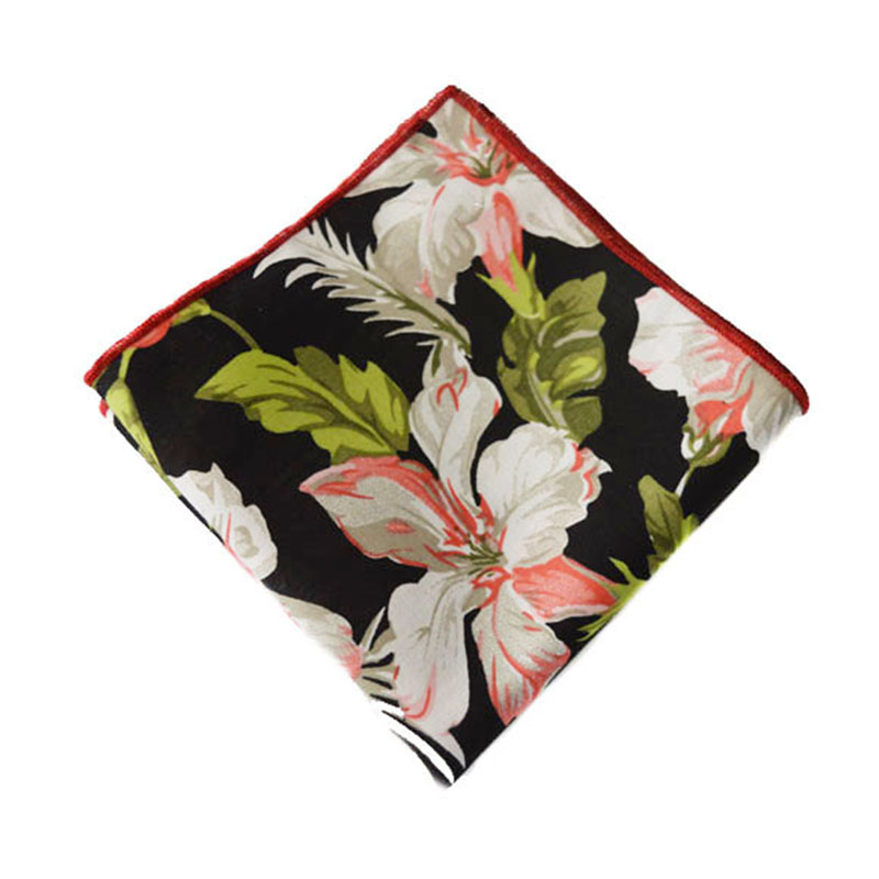 Men's Suits Cotton Flower Printed Handkerchiefs Floral Pocket Square Hankies Men's Business Square Pockets Hanky Chest Towel(China (Mainland))