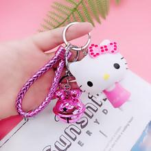 Olá Kitty Cat Novo Casal Bonito Anel Chave Titular Sino Presente do Estudante Criança Boneca Chaveiro Pingente Chaveiro Acessórios Femininos SL106(China)