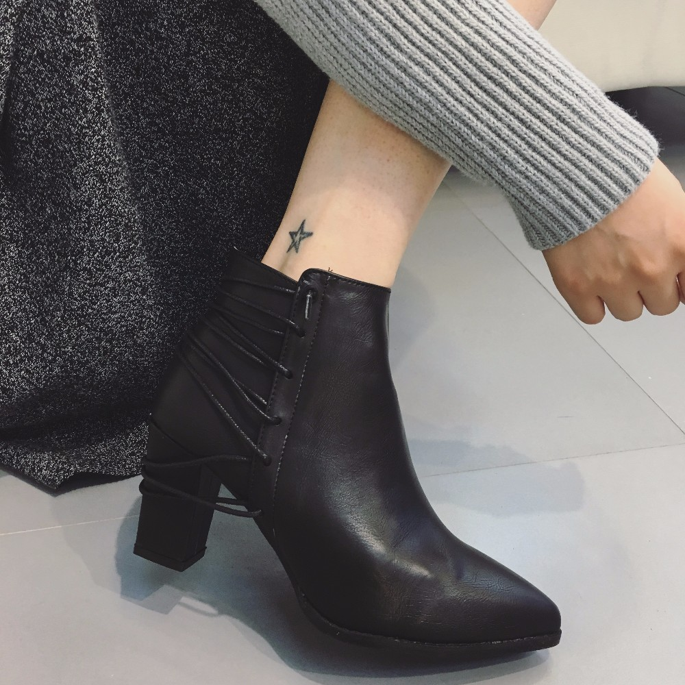 2016 Women's Winter Chelsea Boots fashion thigh high boots Genuine leather zip Warm Ankle boots for women cowboy high heel shoe