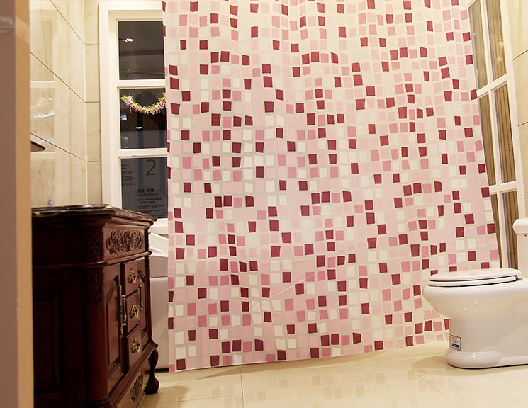 Quality IKEA style morden pink mosaic pattern bathroom curtain, waterproof eco-friendly shower curtains,(China (Mainland))