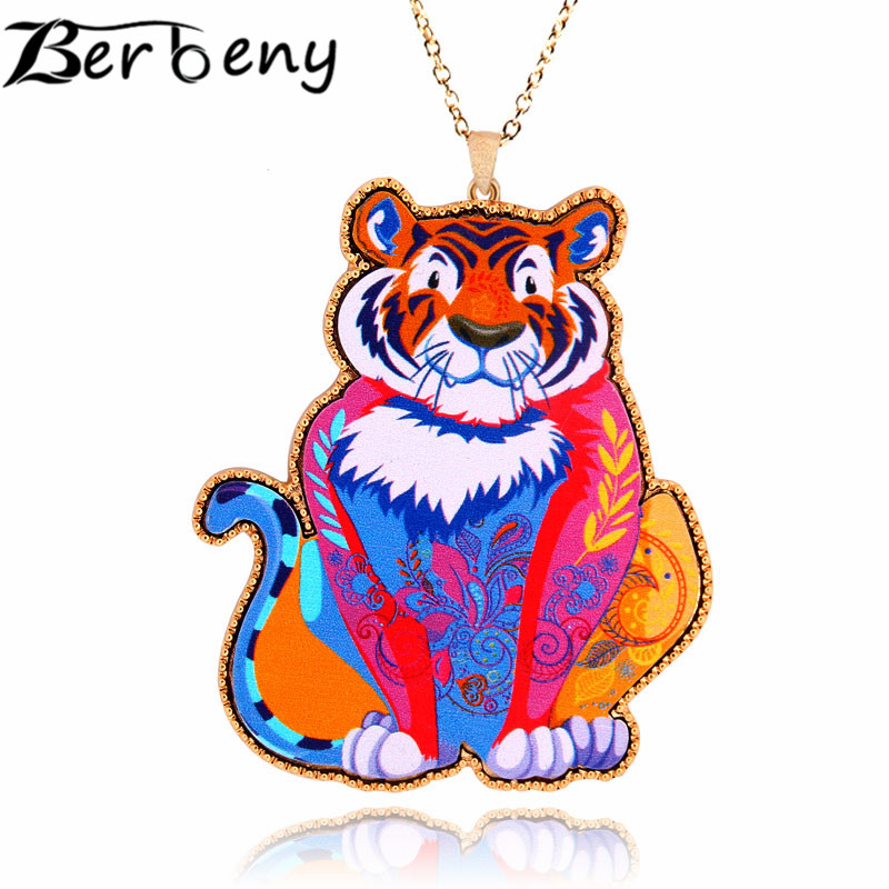 Berbeny The latest Arrival Trendy Faoums Brand Design Acrylic Jewelry Tiger Pendant Necklace Woman Girl Fashion Accessories(China (Mainland))