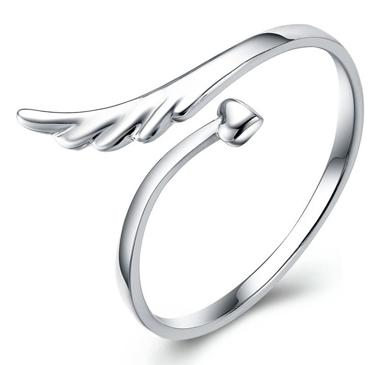 Free Shipping Adjustable Size Sterling Silver Ring Fashion Exquisite Angel Wing Rings Jewelry for women