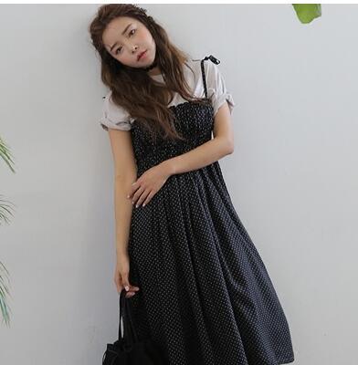 Free shipping Korea stylenanda sweet wave point lace bow waist harness dress women(China (Mainland))