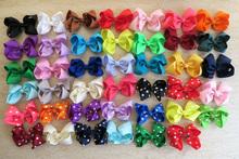 """40pcs/lot 4"""" Grosgrain Ribbon Hair Bows Hair Clips kid Baby Boutique HairBows Hairclips,Girl Hair Accessories Xmas gift O(China (Mainland))"""