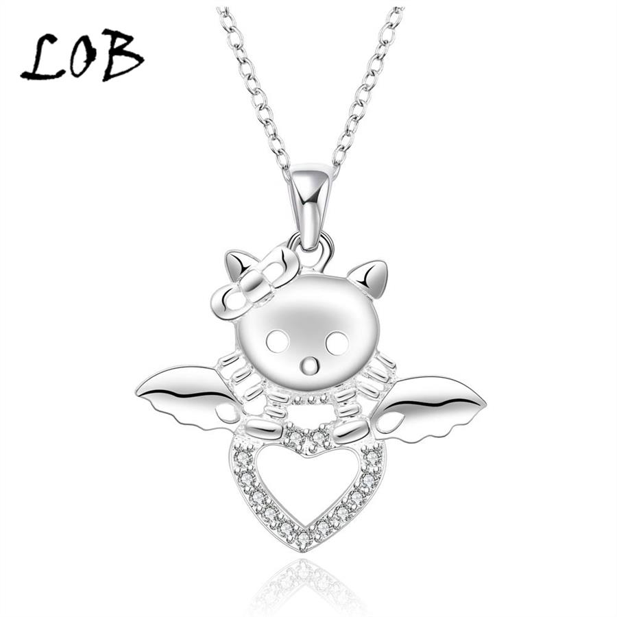 Silver Plated Lovely Heart Cat Necklaces & Pendants For Lady Silver Chain Necklace Women Party Accessories 2016 N567(China (Mainland))