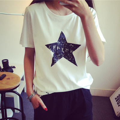 2015 Women's Summer T-Shirt Clothes Shirt  O-neck Star Printed White And Black Free Shipping