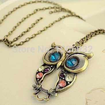 2015 Big Discount Hollow Out Beautiful Owl Women Necklace Long Copper Alloy Chain Vintage Owl Pendants classic retro jewelry(China (Mainland))