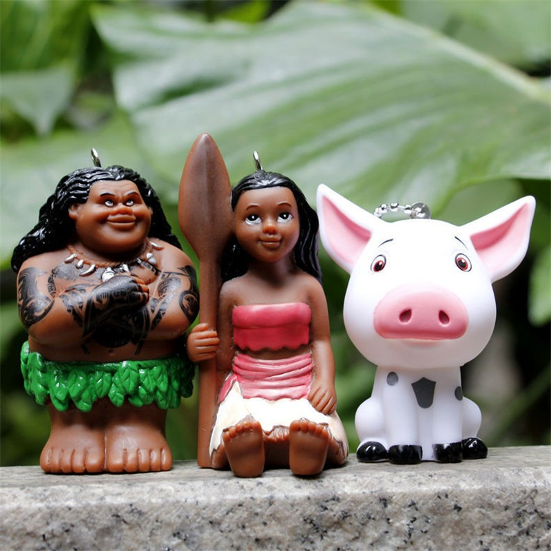 Movie Moana Princess Figuras Toys Moana Maui  Pua Action Figure Model Dolls Keychain Pendant Gift for Chilren 3pcslot 7-8cm (5)