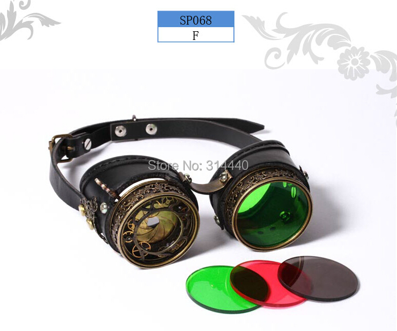 new Steam punk Goggles with shutter lense Brass Leather Goggles sp068(China (Mainland))