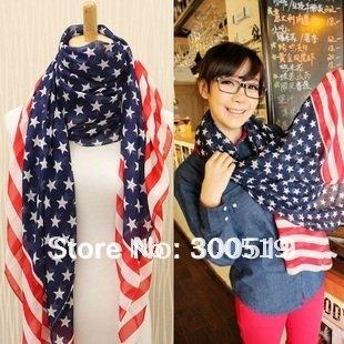 GG003  Women's chiffon Scarves/  Popular USA Flag style scarf,1pcs