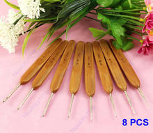 Buy 8Sizes/set Bamboo Handled Metal Crochet Hooks 8 Pcs Needles Weave Craft #XY# for $2.50 in AliExpress store