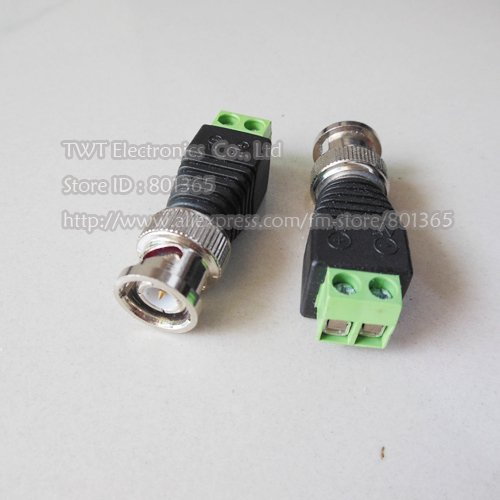 Free shipping Wholesale CAT5 To Coax Coaxial Camera CCTV BNC TV Video Balun Cable Connector 500Qty(China (Mainland))