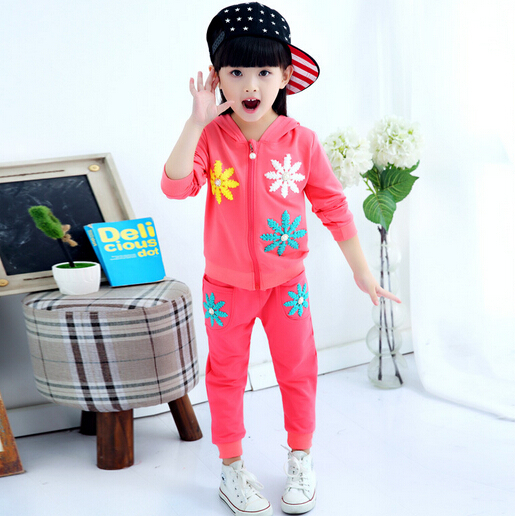 Autumn Winter Girls Clothing Sets 2015 Korean Casual Hooded Girls Tracksuit Flower Zipper Baby Girl Sport Suit Cardigan+Pants(China (Mainland))