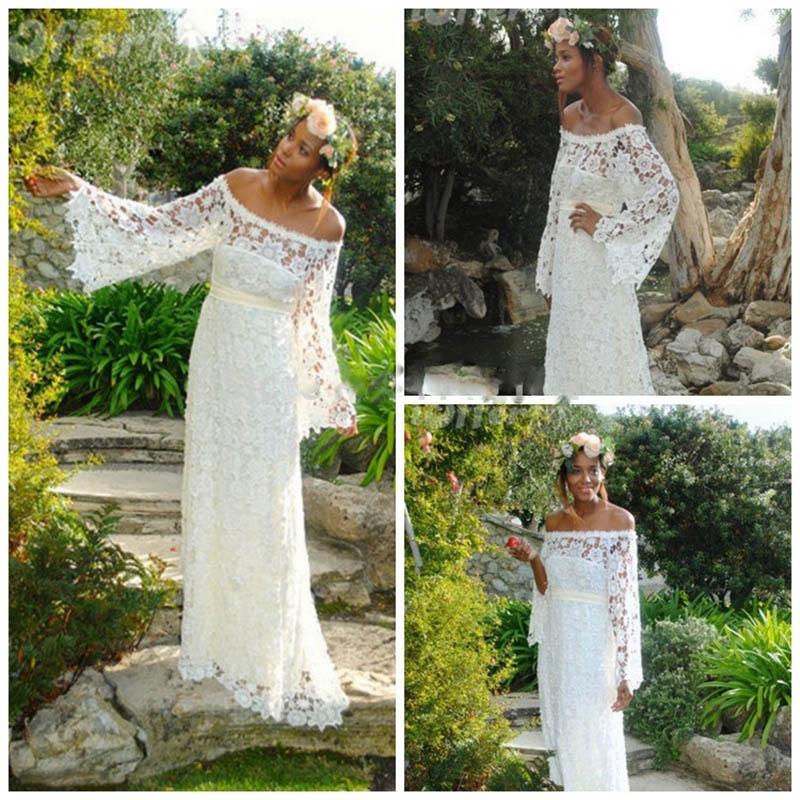 Elegant Long Sleeve Wedding Dress Backless Casamento Bridal Gown Lace Dresses 2016 Bohemian Bride Vestidos De Novia Plus Size(China (Mainland))