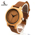 BOBO BIRD A10 Brand Design Women Wooden Bamboo Watch Real Leather Strap Quartz Watches for Women