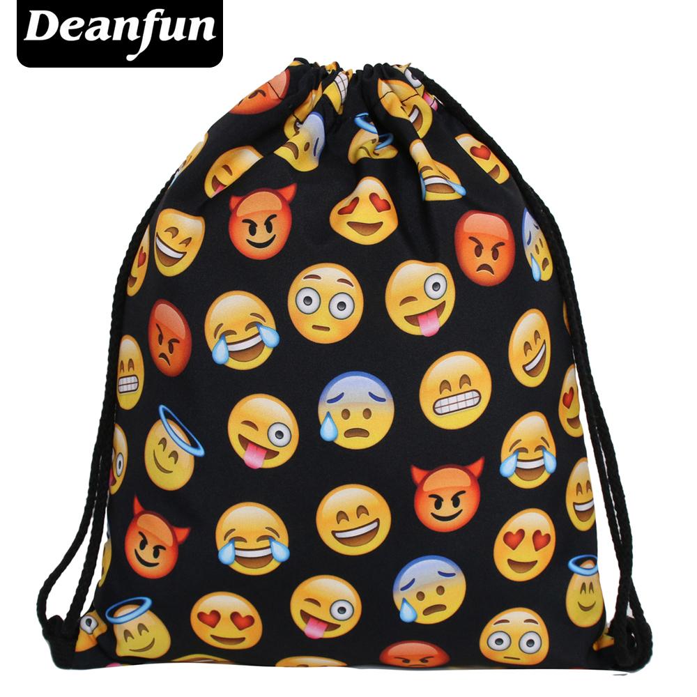Deanfun Women Emoji Backpack 2017 New Fashion Womens Backpacks 3D Printing Bags Drawstring Bag For Men BSKD60