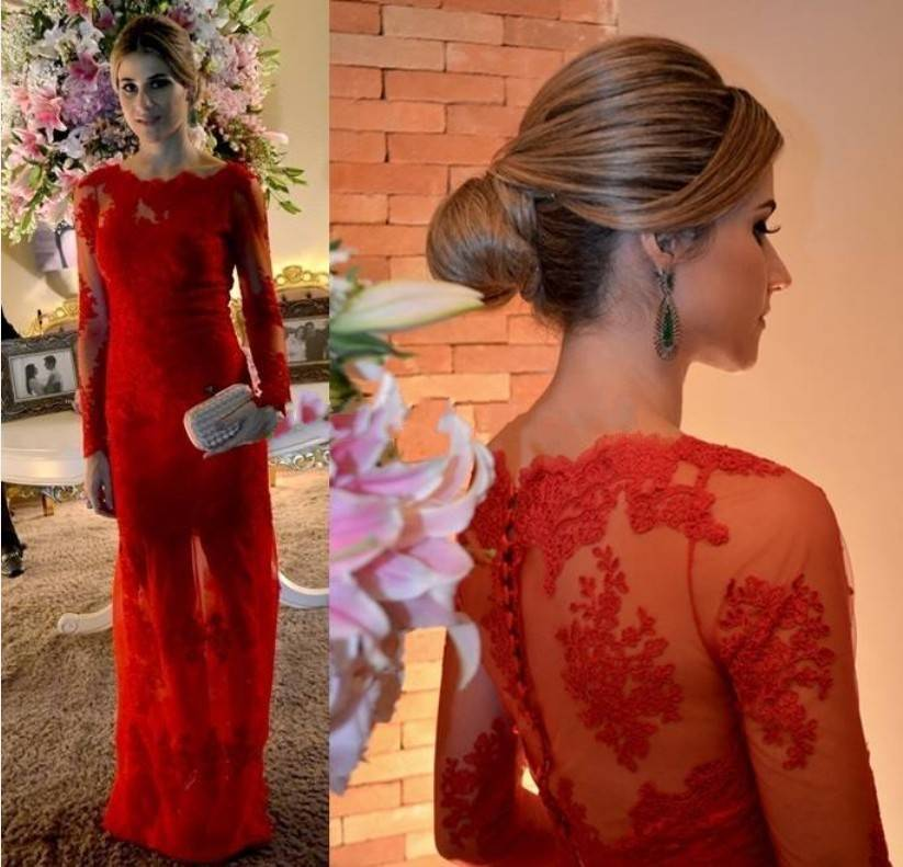 Online Get Cheap Red Long Sleeve Lace Prom Dresses 2015 ...