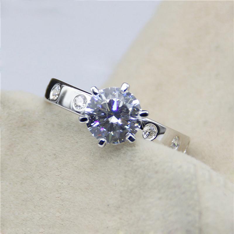 Genuine 14K White Gold 2.18 Carat ct  Lab Grown Moissanite Diamond Engagement&amp;Wedding Ring For Women<br><br>Aliexpress