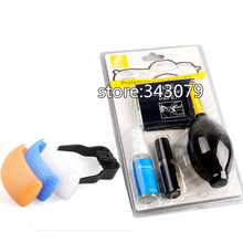 7 in 1 Professional Lens Cleaning Kit + 3 Color Pop-Up Flash Diffuser Cover For nikon camera lens Air Brower Soft Cloth Clean(China (Mainland))