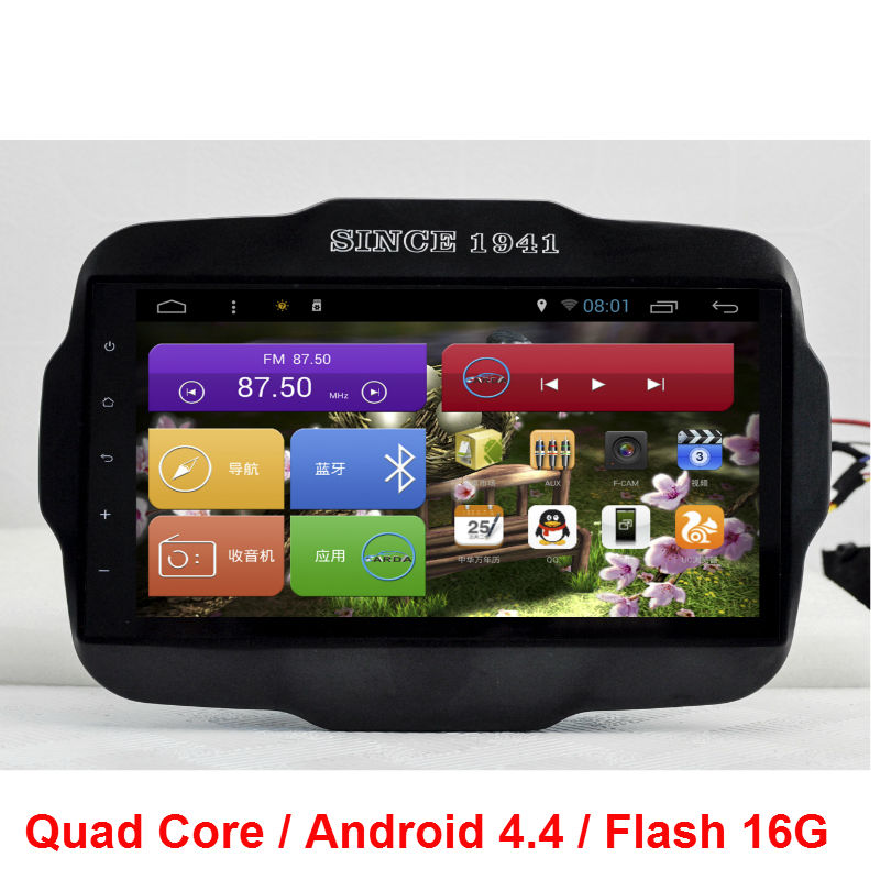 9 inch HD 1024*600 Quad Core Android 4.4 2 din CAR DVD player GPS Navi For Jeep Renegade 2016 WIFI 3G RDS Bluetooth mp3(China (Mainland))