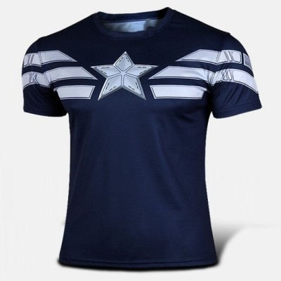Hot sales NEW 2015 Summer Marvel Captain America 2 Super Hero American Flag T shirt jersey Men Breathable clothing S-XXXXLОдежда и ак�е��уары<br><br><br>Aliexpress