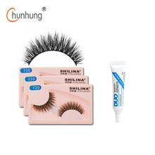 SHILINA 3 Pair/lot False Eyelashes Natural Long Fake Lashes Black False Eye Lashes Free Gift Duo False Eyelash Glue 9 Style(China (Mainland))