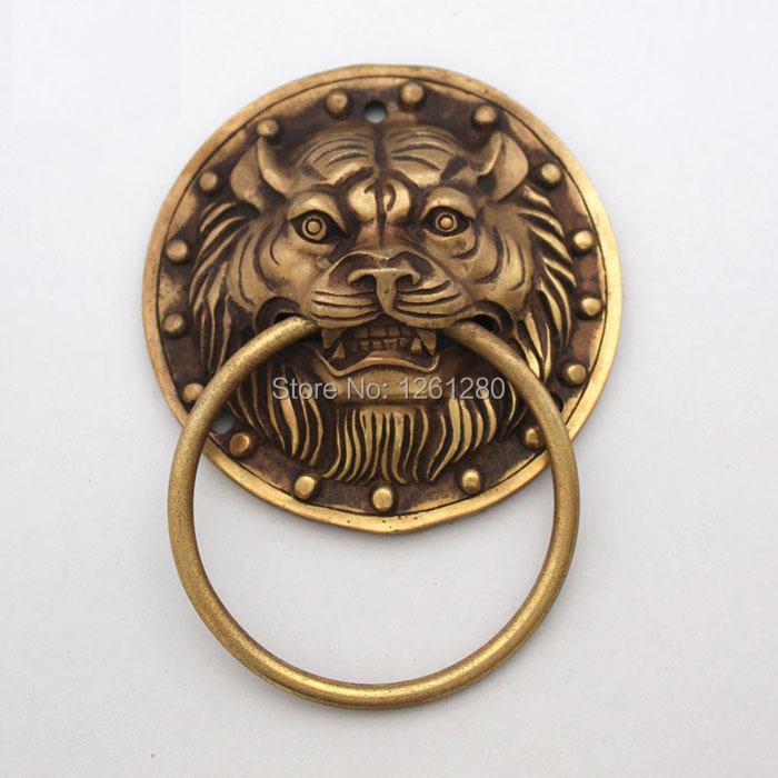 free shipping brass handle door handle Steller knocker antique beast handle wood door hardware part iron door pull<br><br>Aliexpress