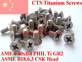 Titanium screws 4-40x1/4 CSK Head 1# Phillips Driver Polished(China (Mainland))