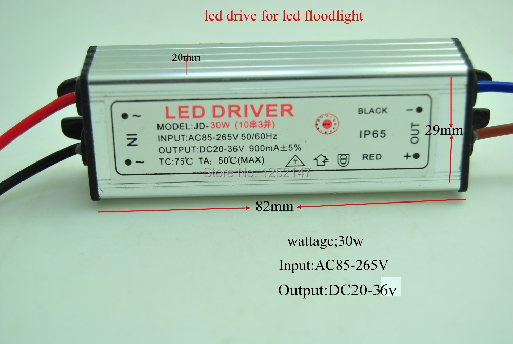led driver dc20 36v 30w 900ma led power supply floodlight driver 10 series 3 parallel. Black Bedroom Furniture Sets. Home Design Ideas