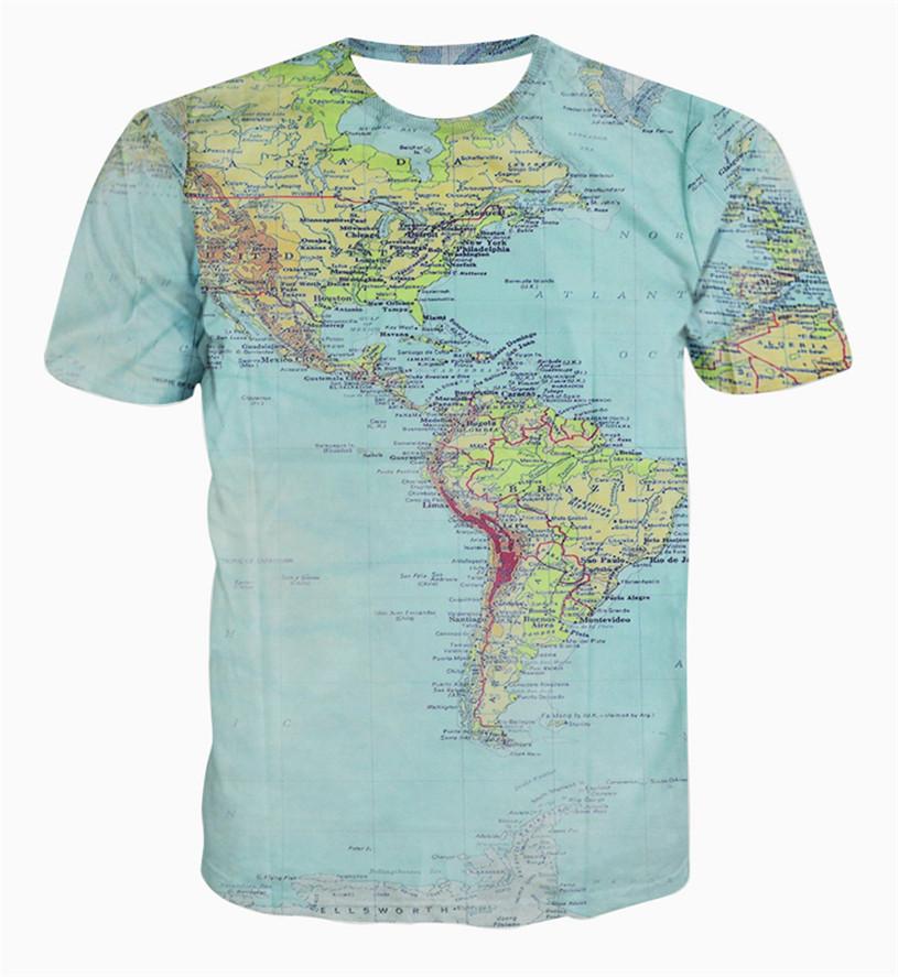 New fashion The World Map T shirt printing 3d t shirt harajuku outfit tees to