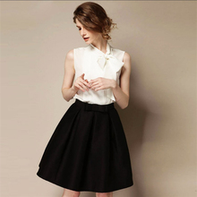 High Quality 2014 New Women's OL Retro Bow Skirts Autumn Winter Fashion Plus Size High Waist Knee-length A-line Skirt Bust Skirt