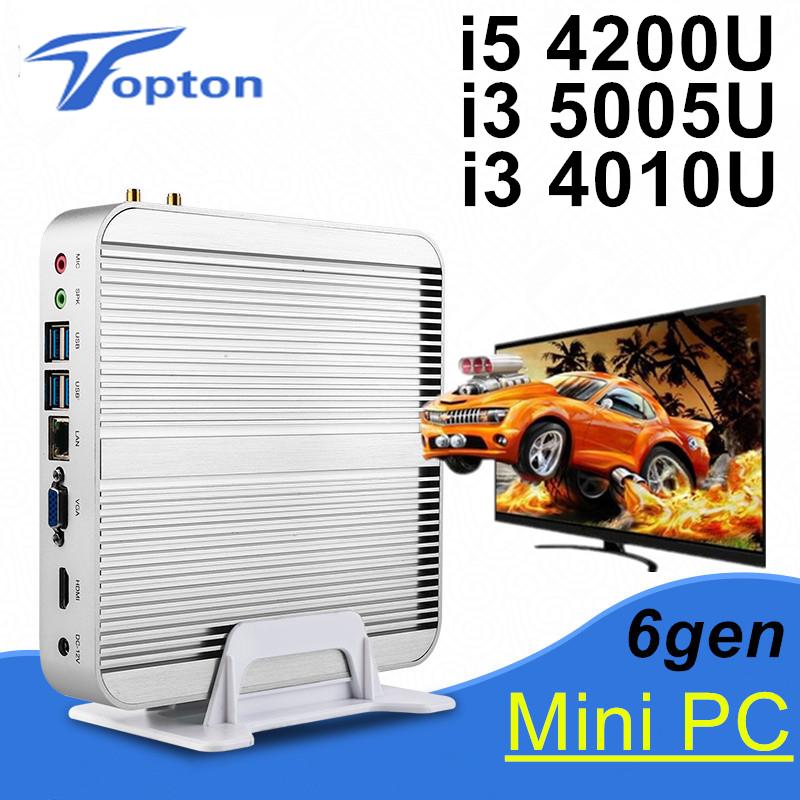 Fanless Barebone i5 Mini PC Win10 3 Years Warranty Nuc Computer Intel Core i5 4200U i3 5005U 4K HTPC TV Box DHL Free Shipping(China (Mainland))